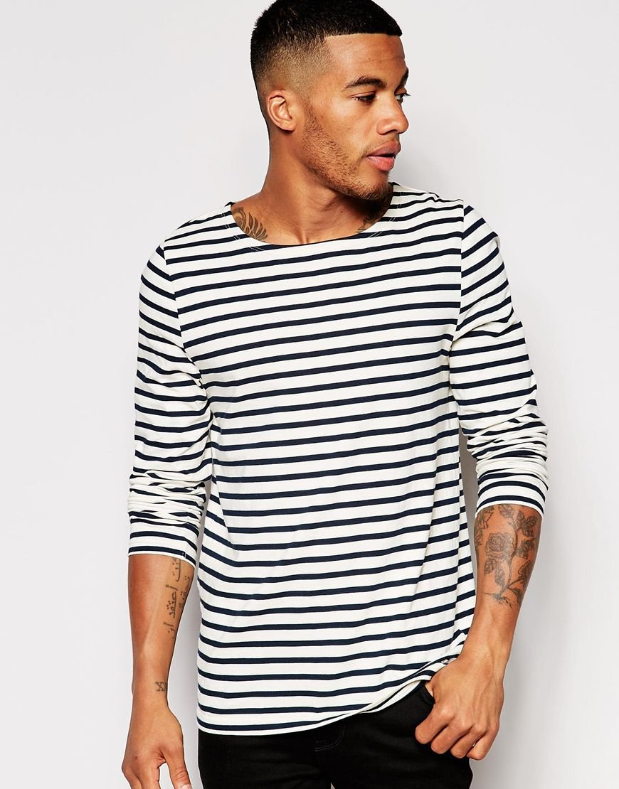 Asos stripe long sleeve t shirt with boat neck in black Striped long sleeve t shirt