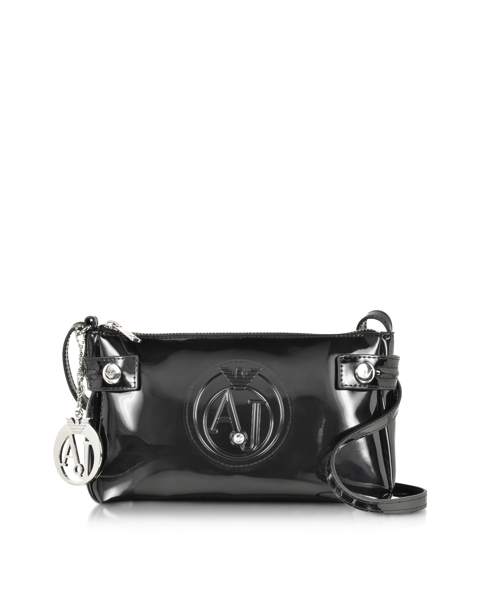 a044a5448b Lyst - Armani Jeans Patent Faux Leather Baguette Crossbody in Black