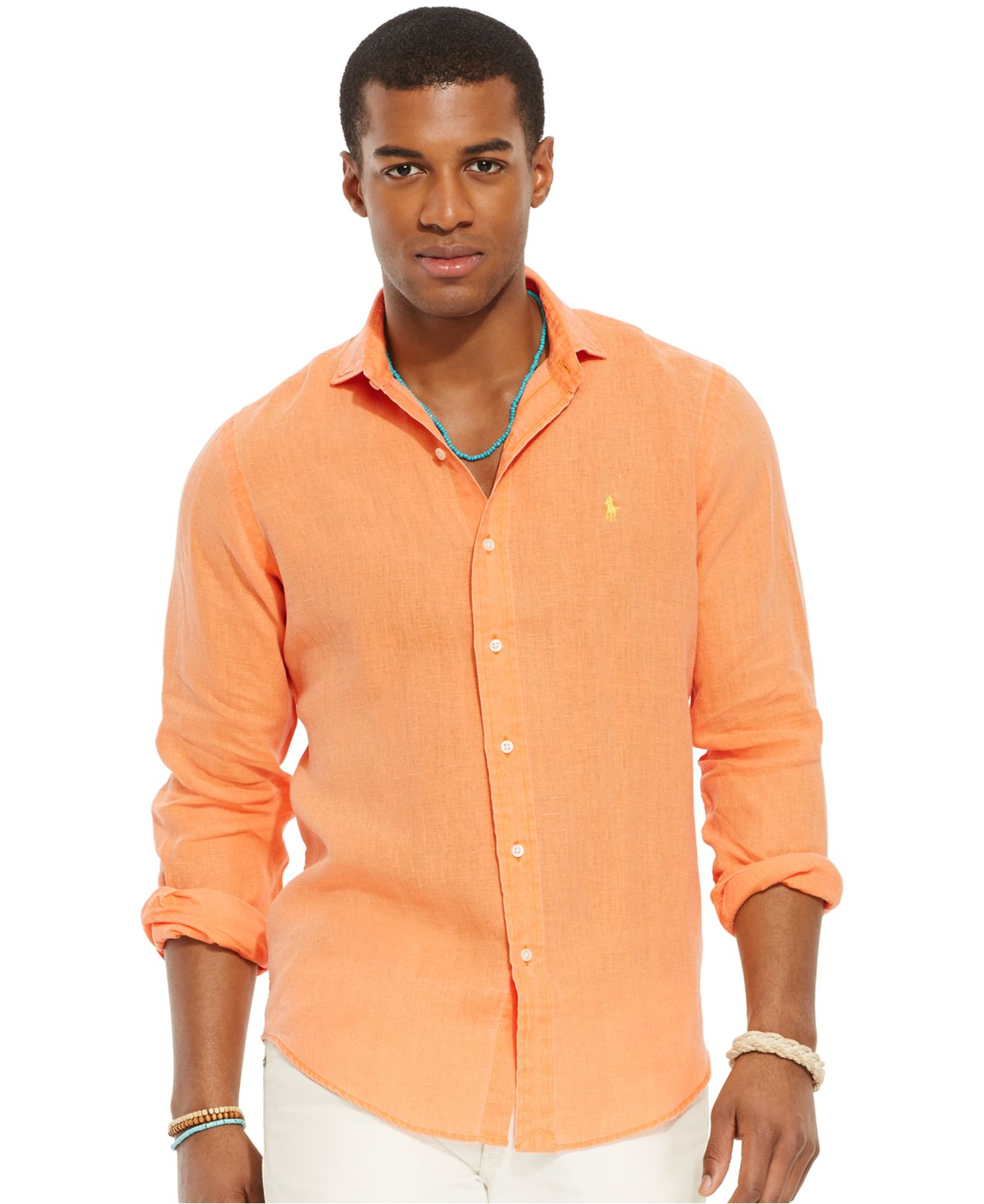 polo ralph lauren linen sport shirt in orange for men lyst. Black Bedroom Furniture Sets. Home Design Ideas