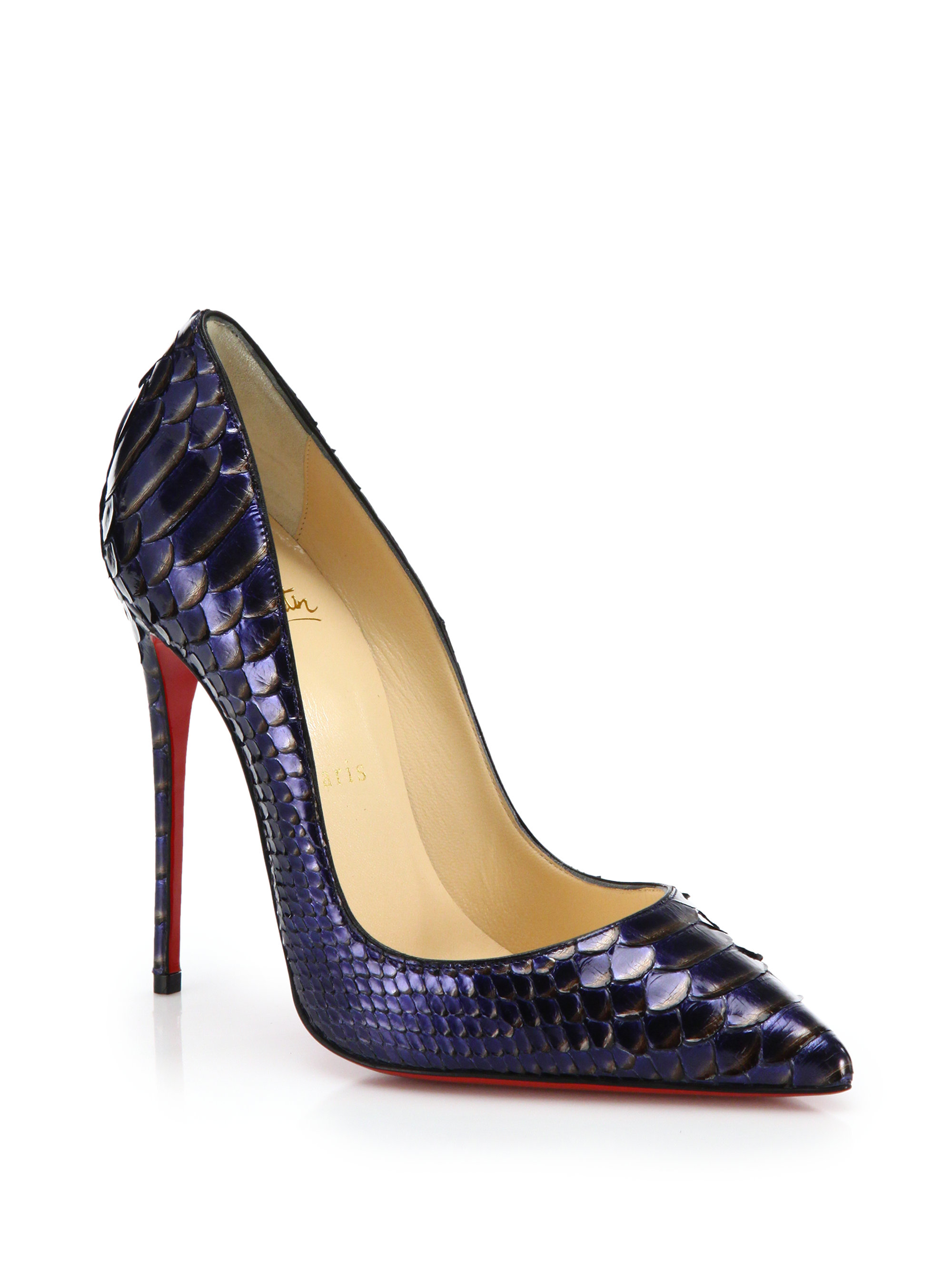 Christian louboutin so kate metallic python pumps in blue lyst