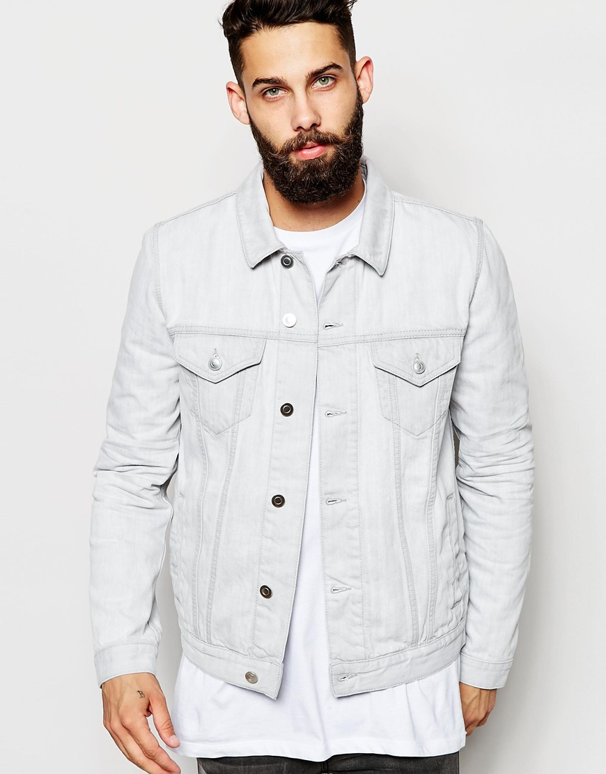 Asos Slim Fit Denim Jacket In Off White in Natural for Men | Lyst
