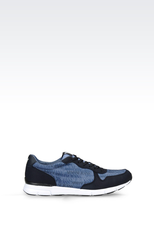lyst armani jeans sneaker in logo patterned technical. Black Bedroom Furniture Sets. Home Design Ideas