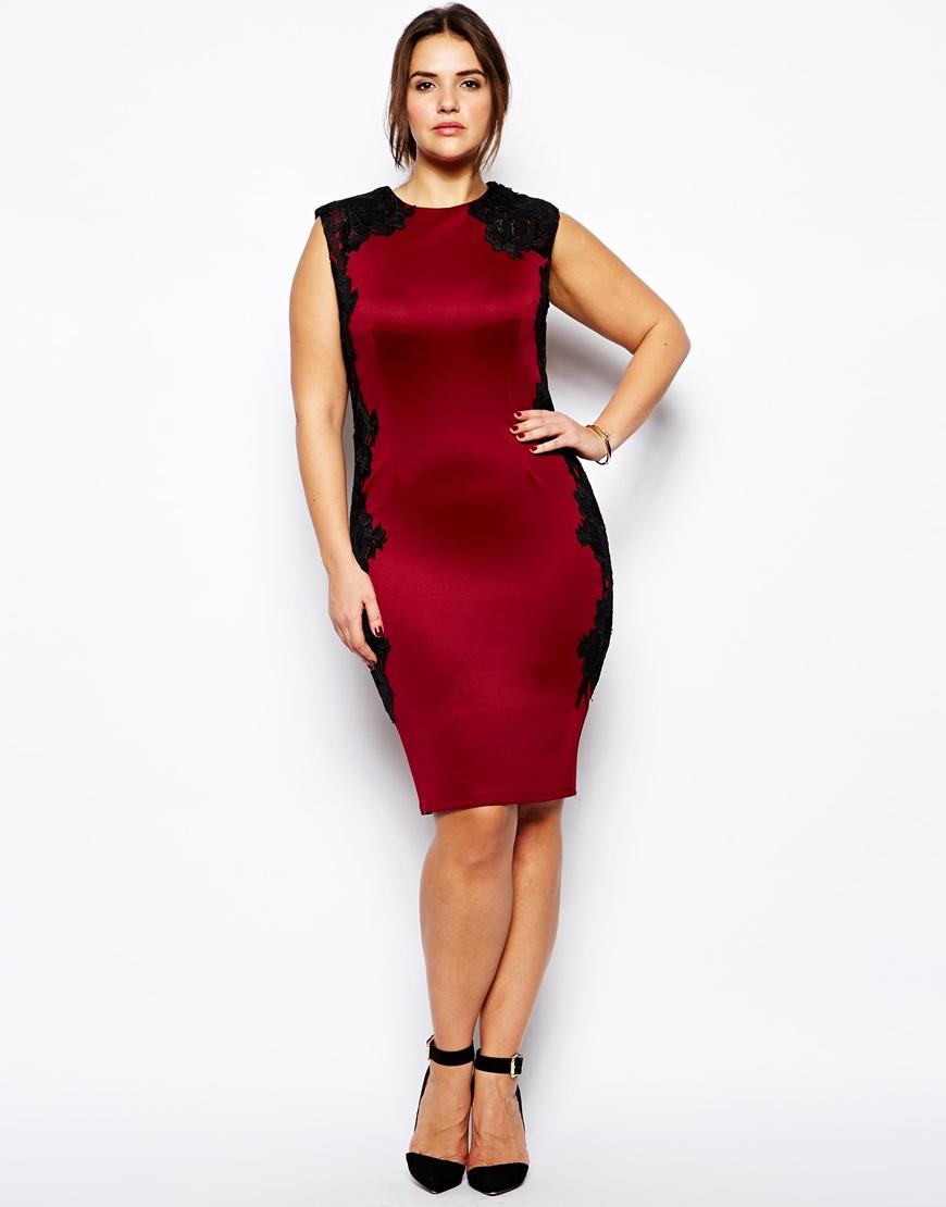 Ax Paris Plus Size Body Conscious Dress With Lace Panels
