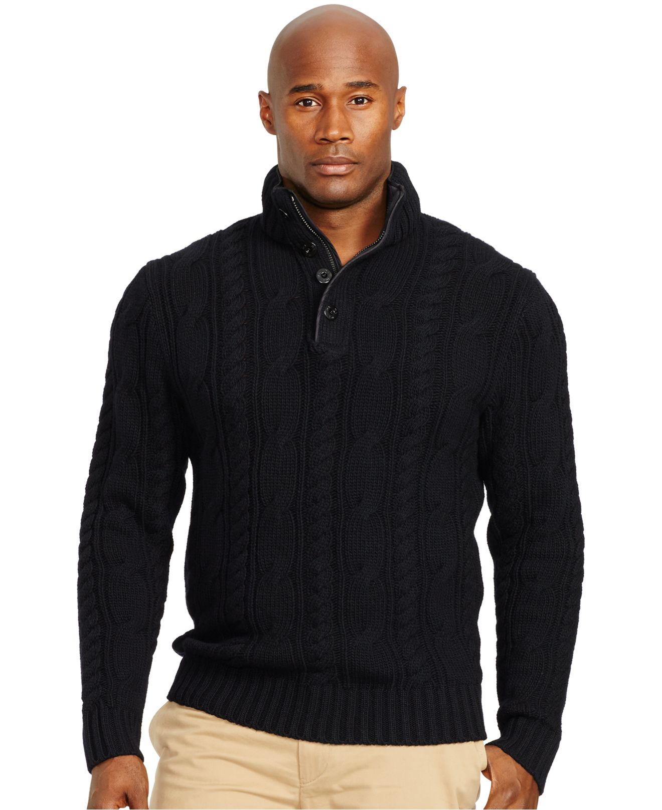 Polo ralph lauren Cable-knit Merino Sweater in Black for Men | Lyst