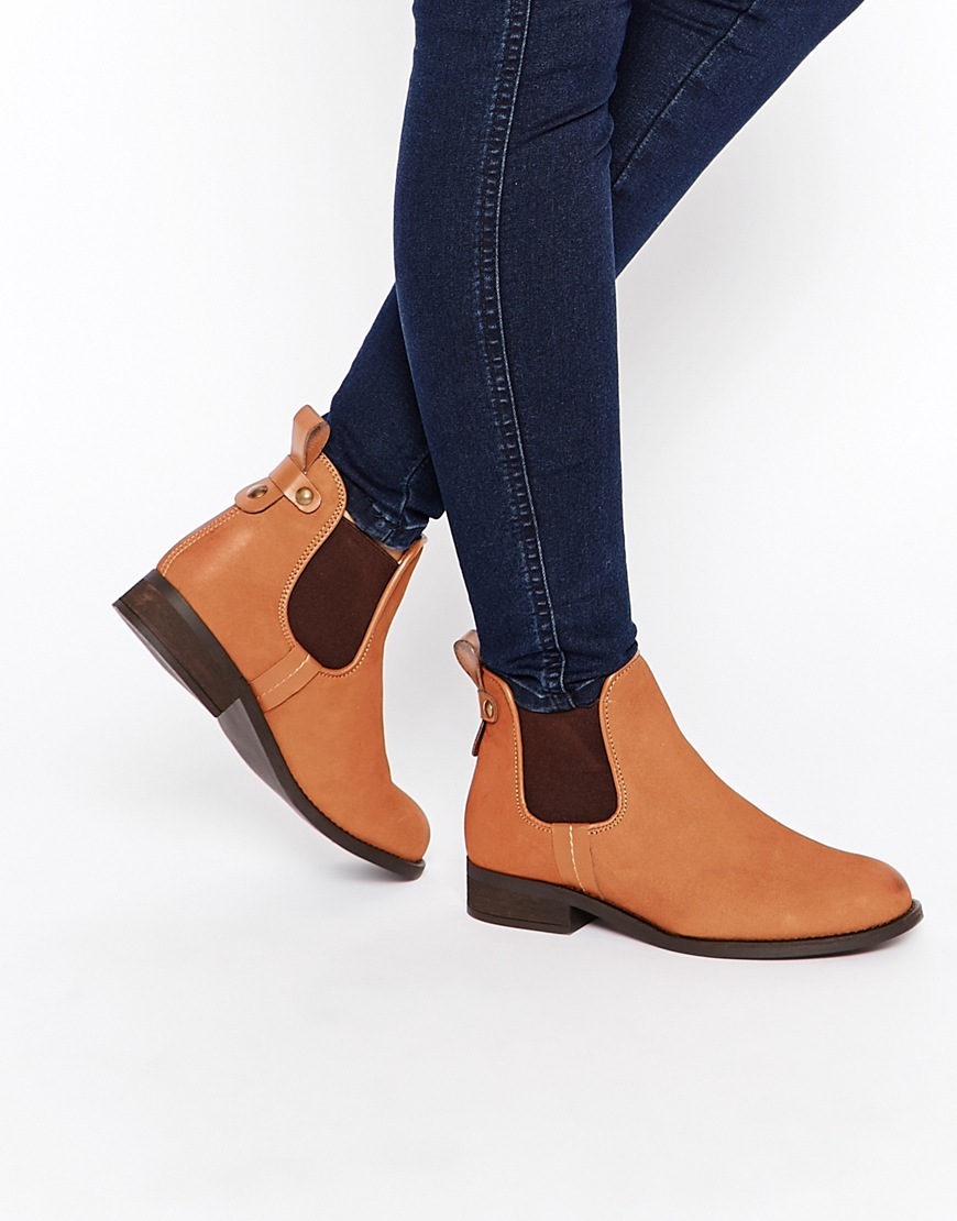Steve madden Gilte Tan Flat Chelsea Boots in Brown | Lyst