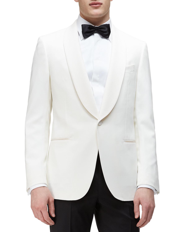 Lyst - Ermenegildo Zegna Shawl-collar Satin Evening Jacket in White ... faa504222