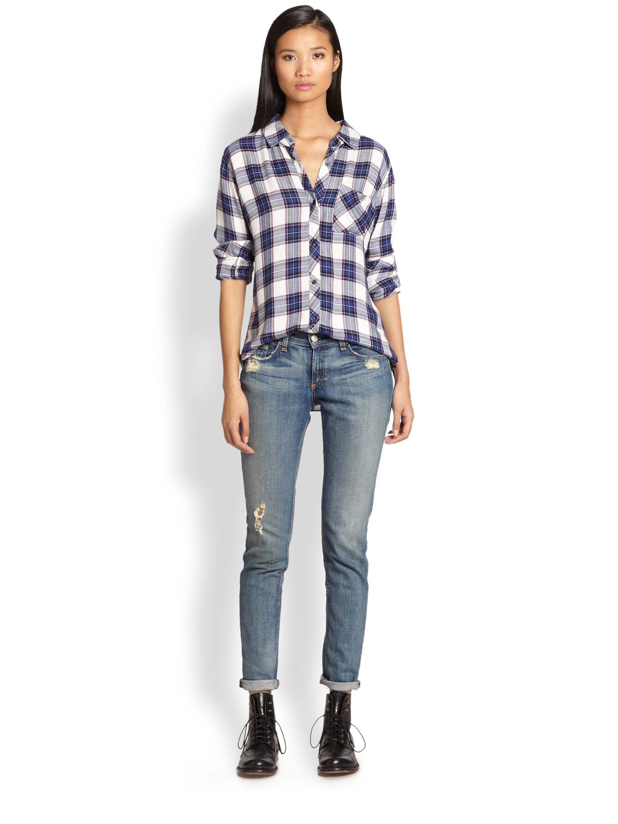 Rails Hunter Plaid Flannel Shirt In Blue White Purple Lyst