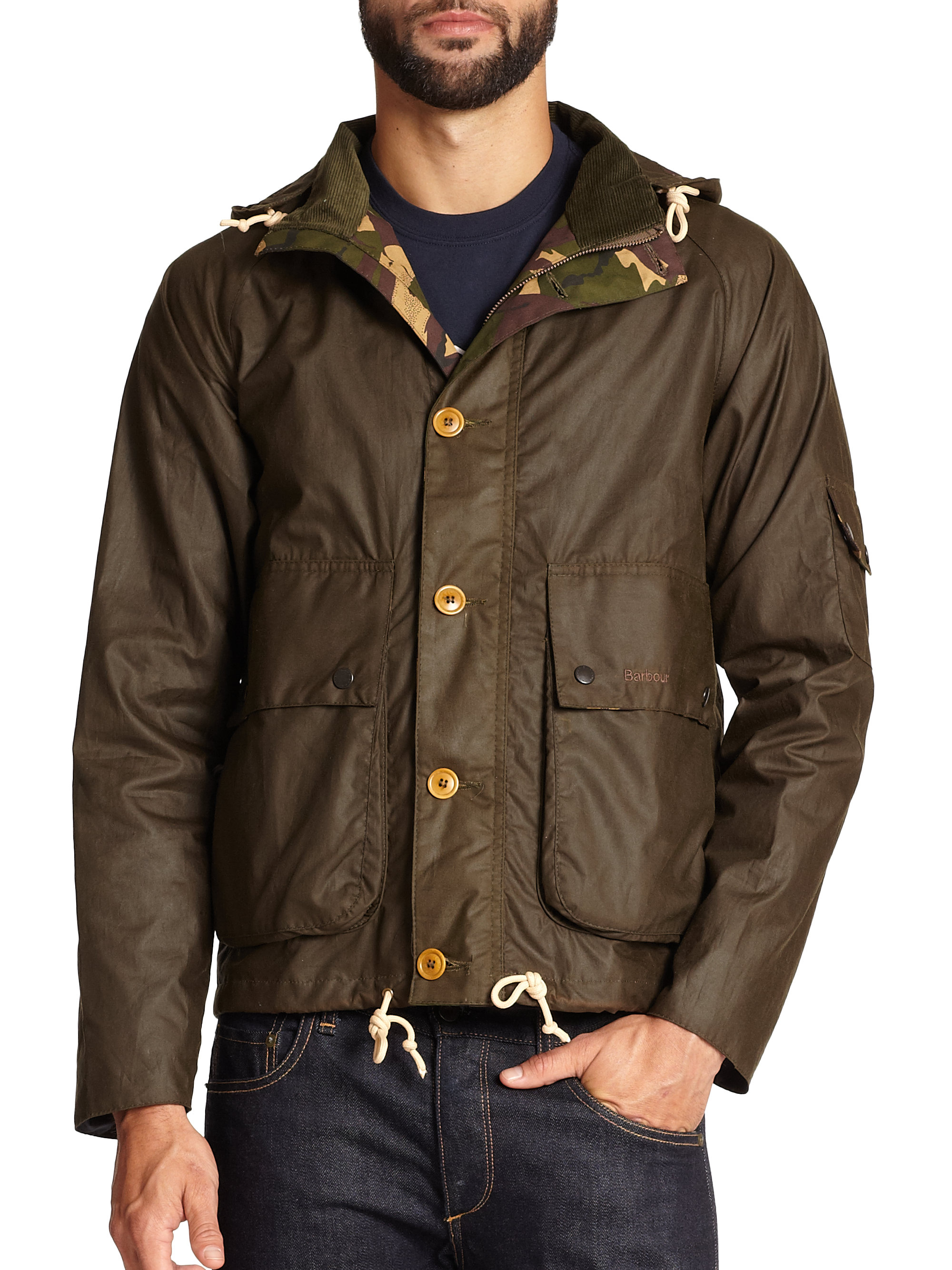 Barbour Overland Waxed Cotton Jacket In Green For Men Lyst