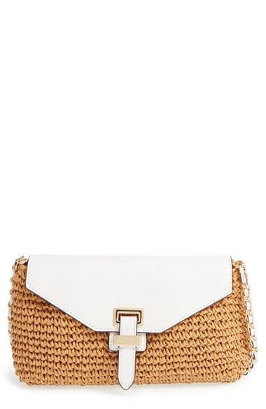 ea1b86f5c339 MICHAEL Michael Kors 'large Naomi' Straw & Leather Clutch in Brown ...