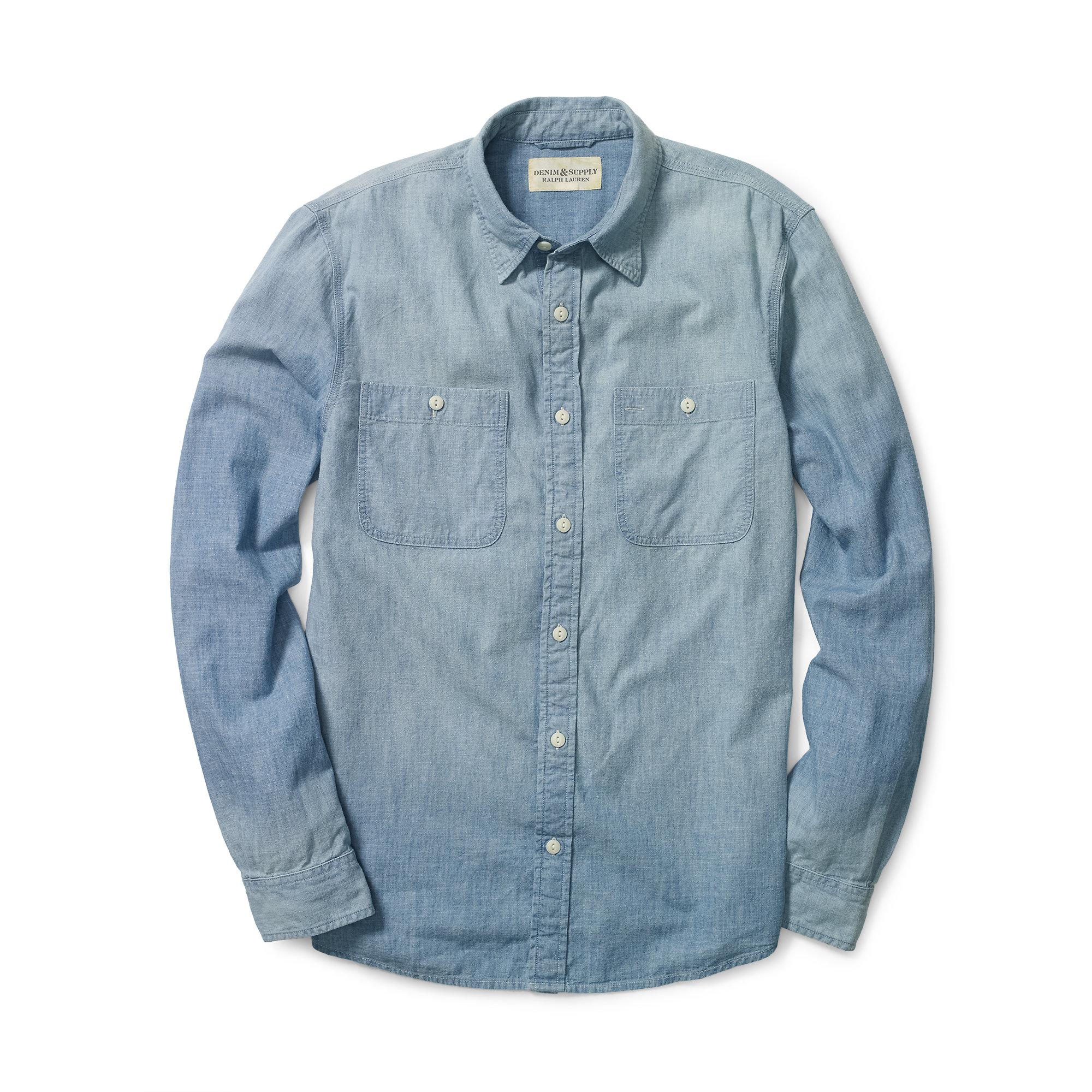 9fc33c08a2 Lyst - Denim   Supply Ralph Lauren Cotton Chambray Shirt in Blue for Men