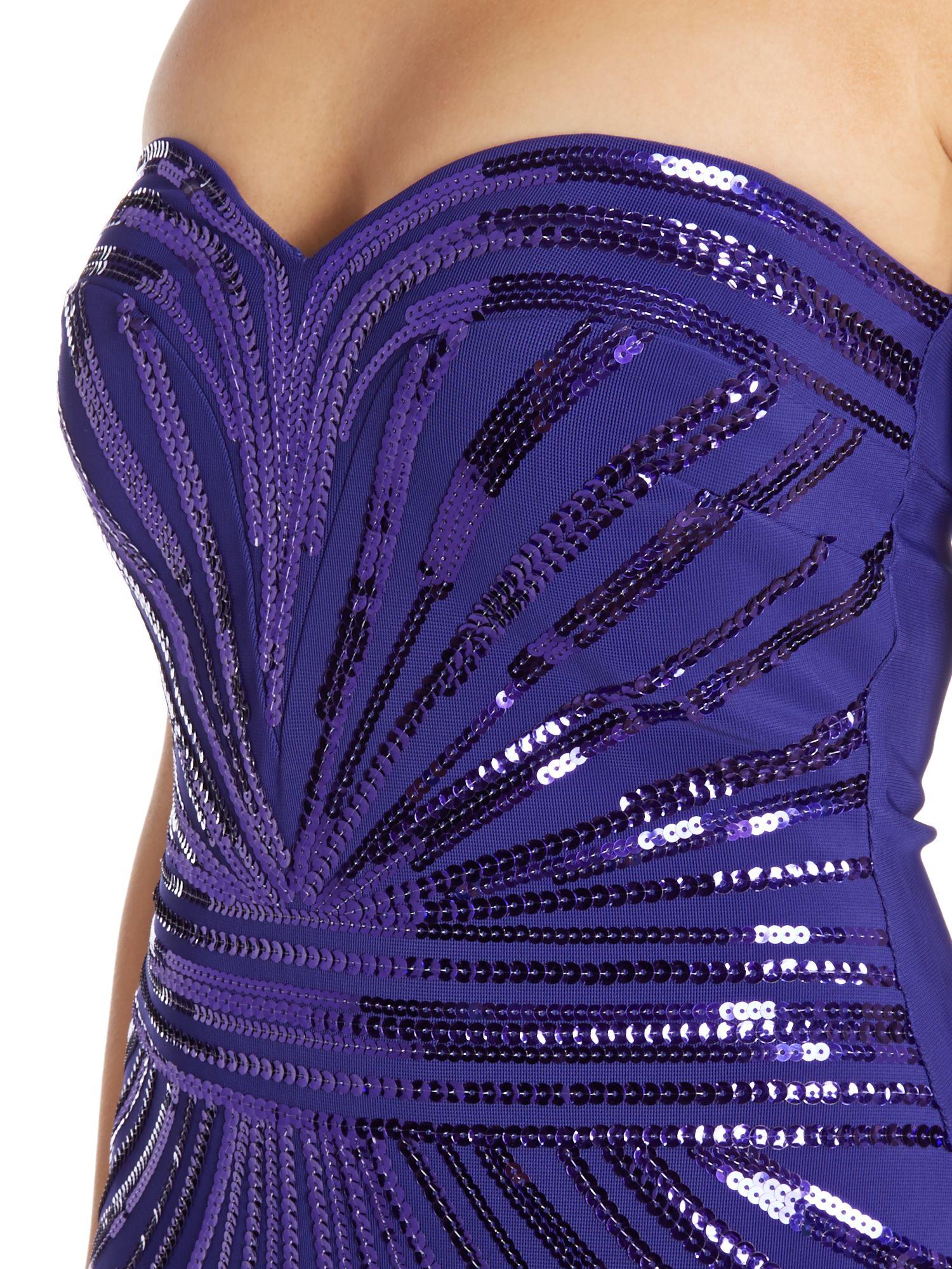 Lyst - Lipsy Sequin Top Chiffon Maxi Dress in Purple