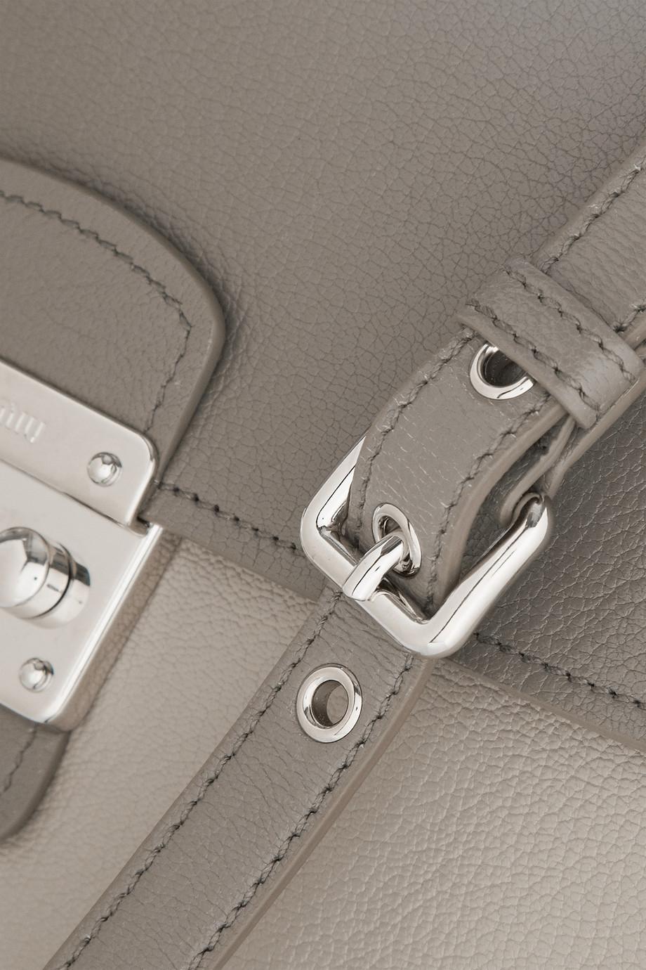 a1b4042d229c Lyst - Miu Miu Pattina Madras Two-Tone Textured-Leather Shoulder Bag ...