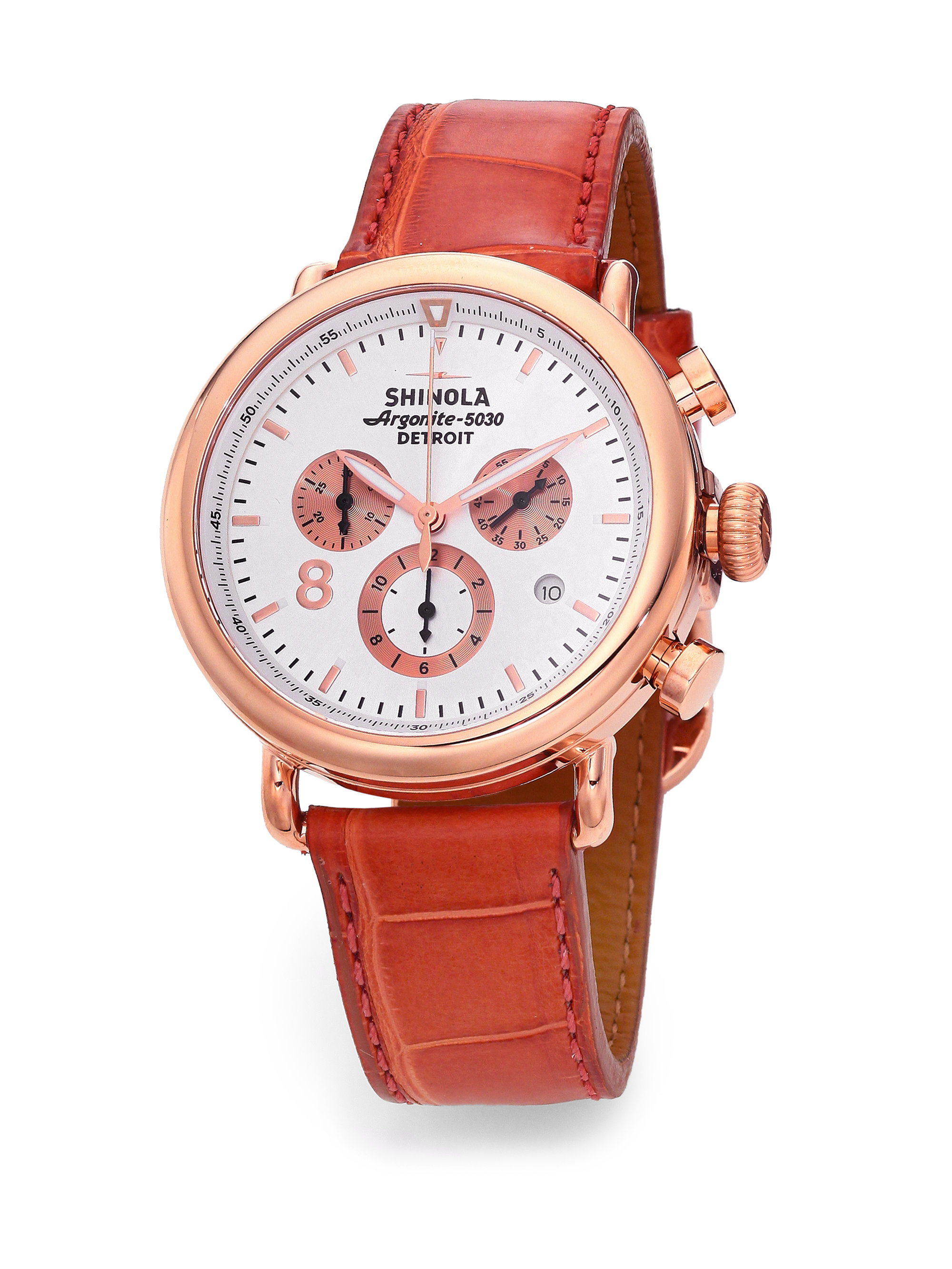 485b961d28a Lyst - Shinola Runwell Rose Gold Pvd Stainless Steel   Alligator ...