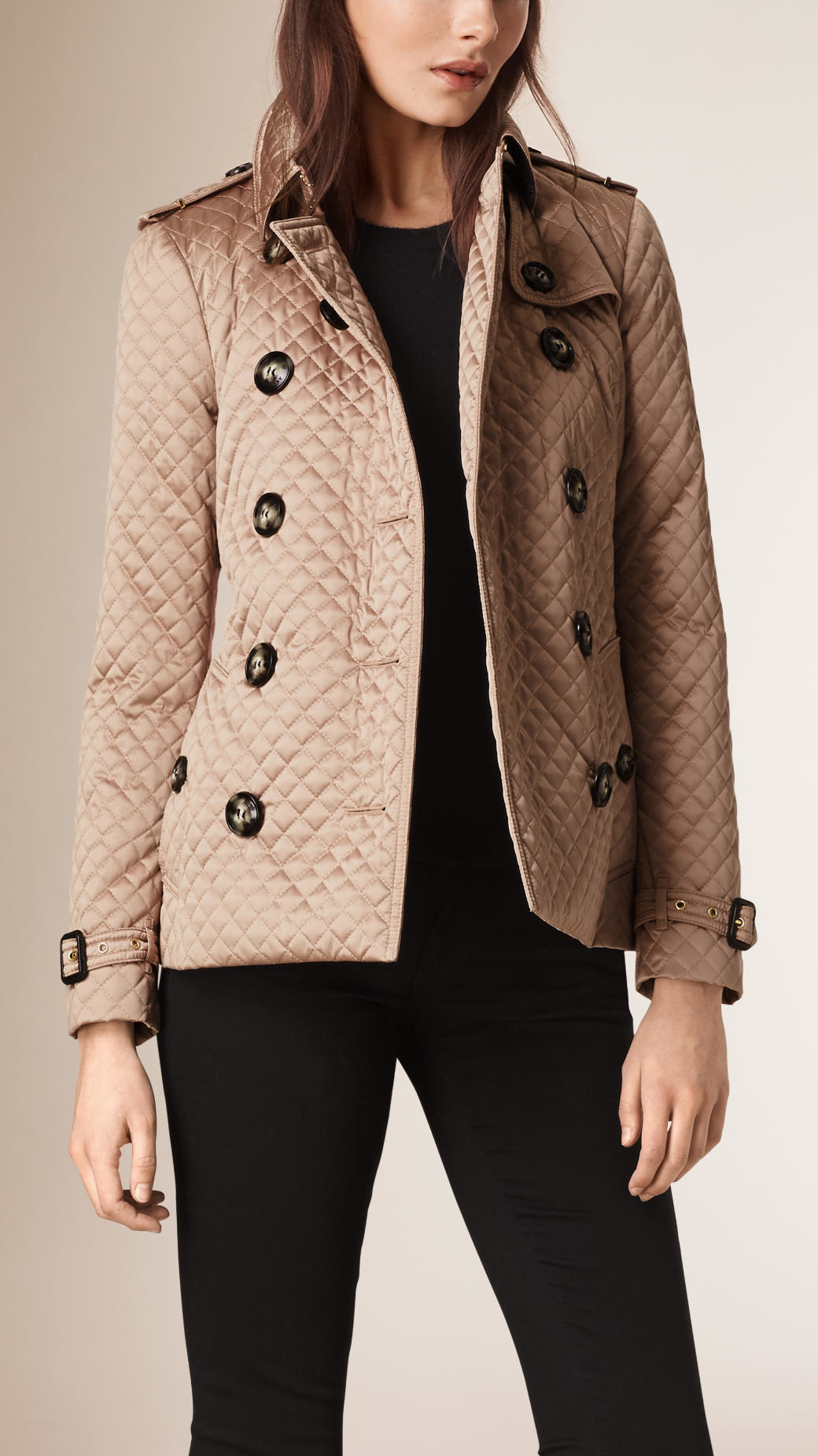 Burberry Diamond Quilted Trench Jacket In Natural Lyst