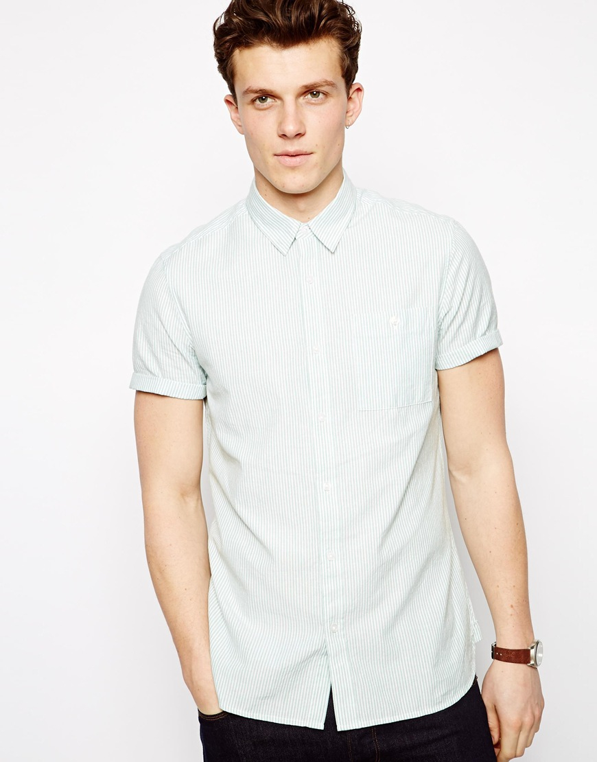 Lyst Asos Oxford Stripe Shirt In Short Sleeve In Green