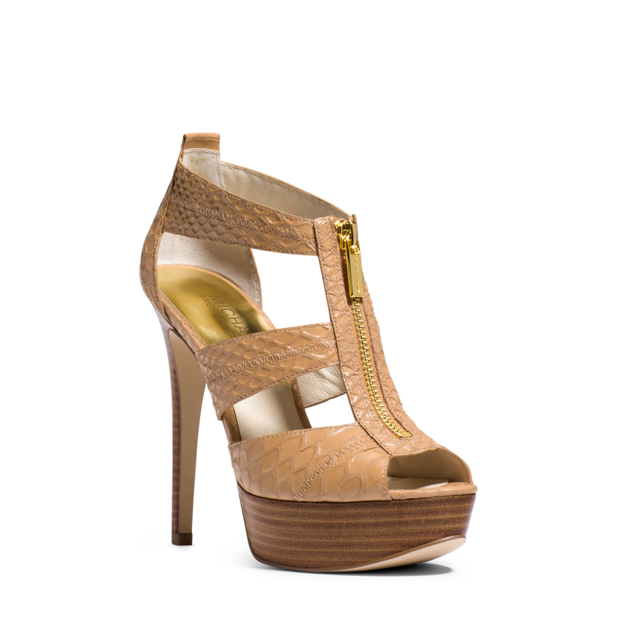 121b27146a83 Lyst - Michael Kors Berkley Embossed-leather Platform Sandal