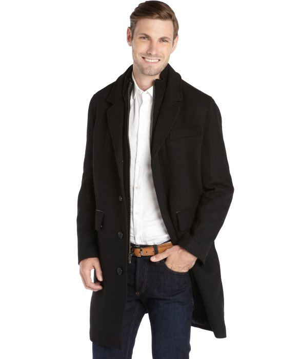 Black Wool Mens Coat | Down Coat