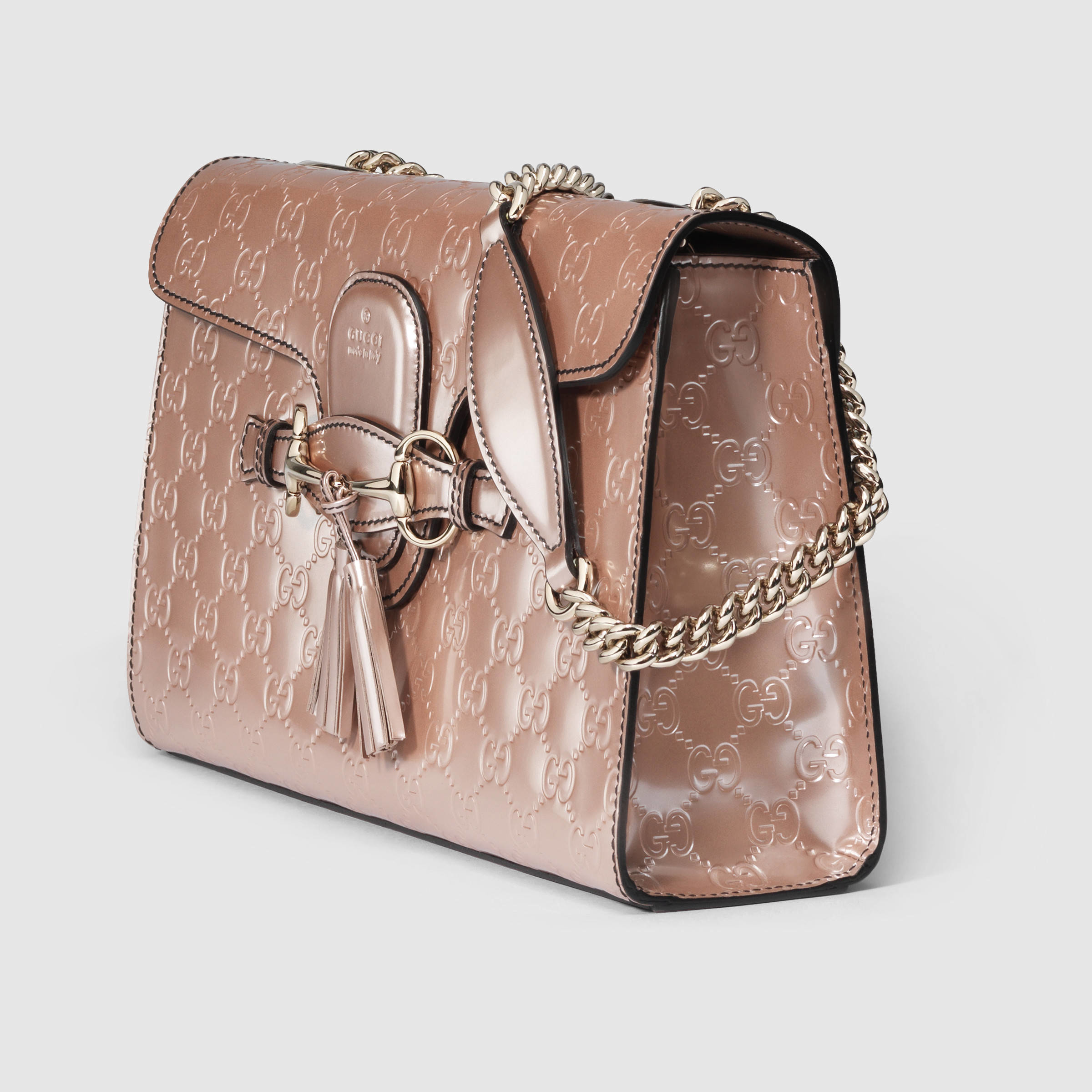 a9aad7e0acd Lyst - Gucci Emily Guccissima Chain Shoulder Bag in Natural