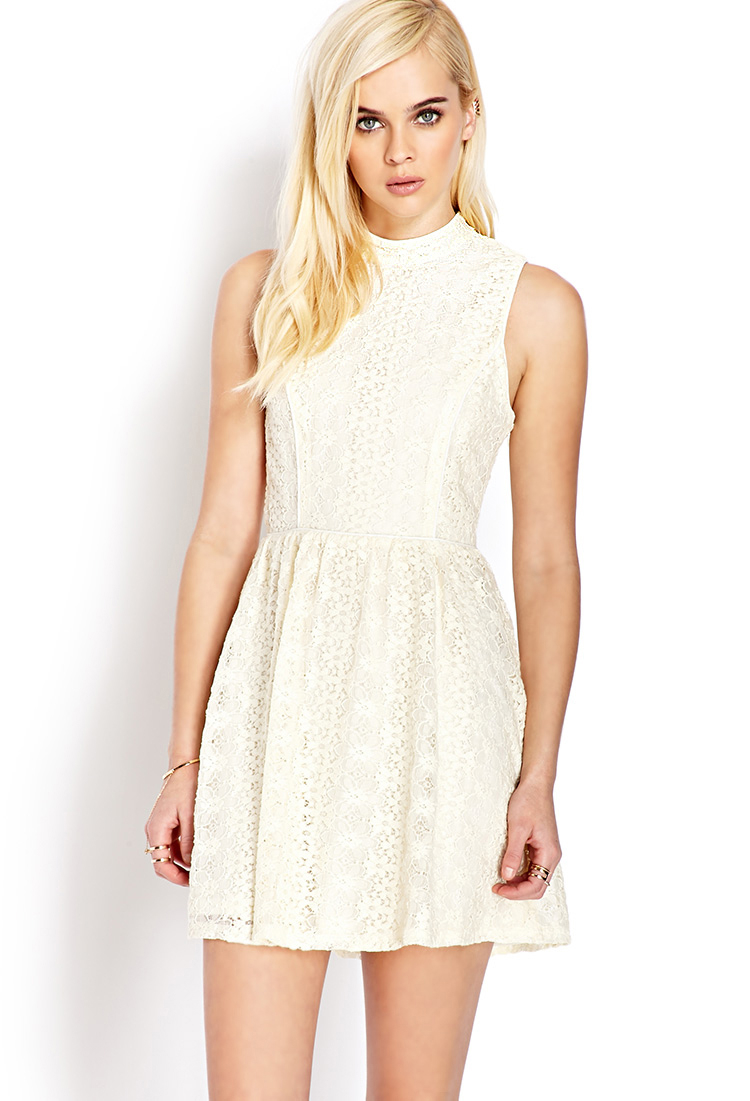 18d65c6c2af5 Forever 21 Sweet Side Crochet Lace Dress in White - Lyst