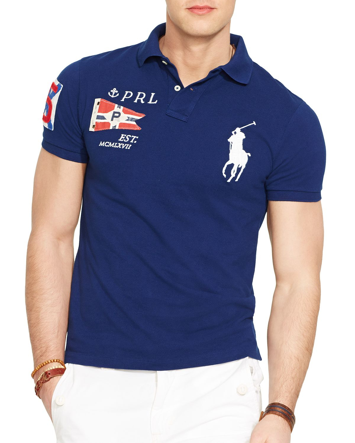 lyst ralph lauren custom fit yacht club mesh polo shirt