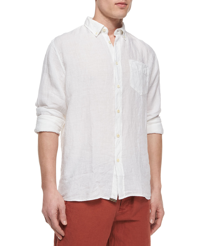 Billy reid jonathon solid long sleeve linen shirt in white for Long linen shirts for womens