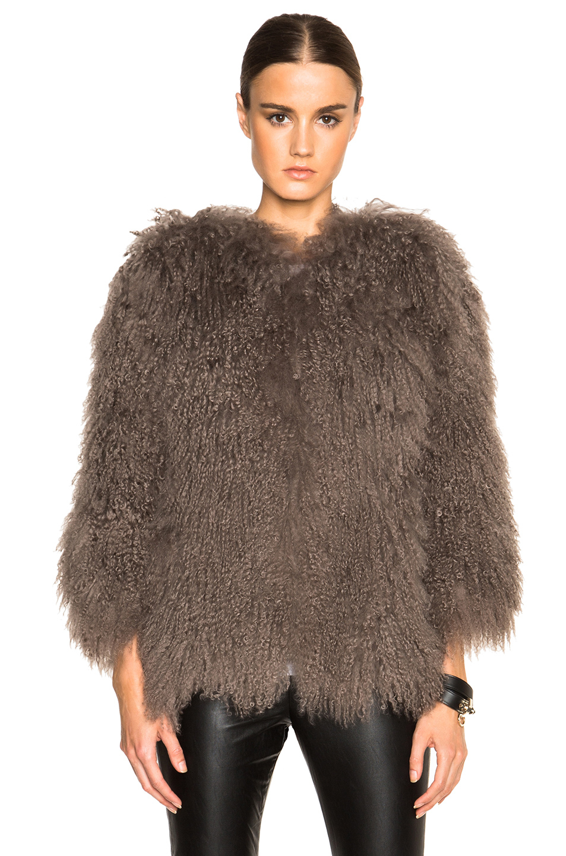 Pam & gela Mongolian Fur Coat in Brown | Lyst