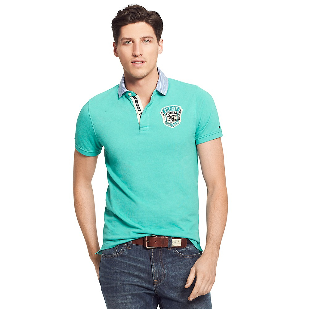 tommy hilfiger slim fit badge polo with woven collar in. Black Bedroom Furniture Sets. Home Design Ideas
