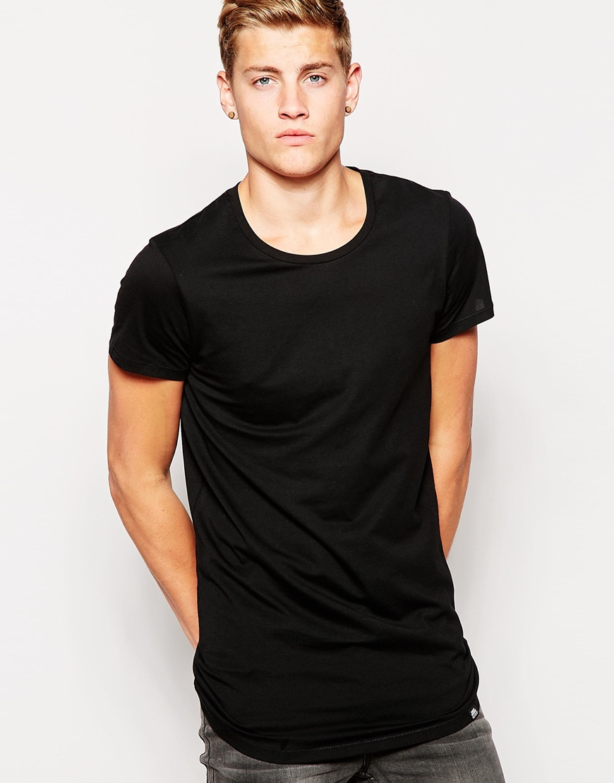 Cheap monday T-shirt Longline Basic Cap Sleeve in Black for Men | Lyst