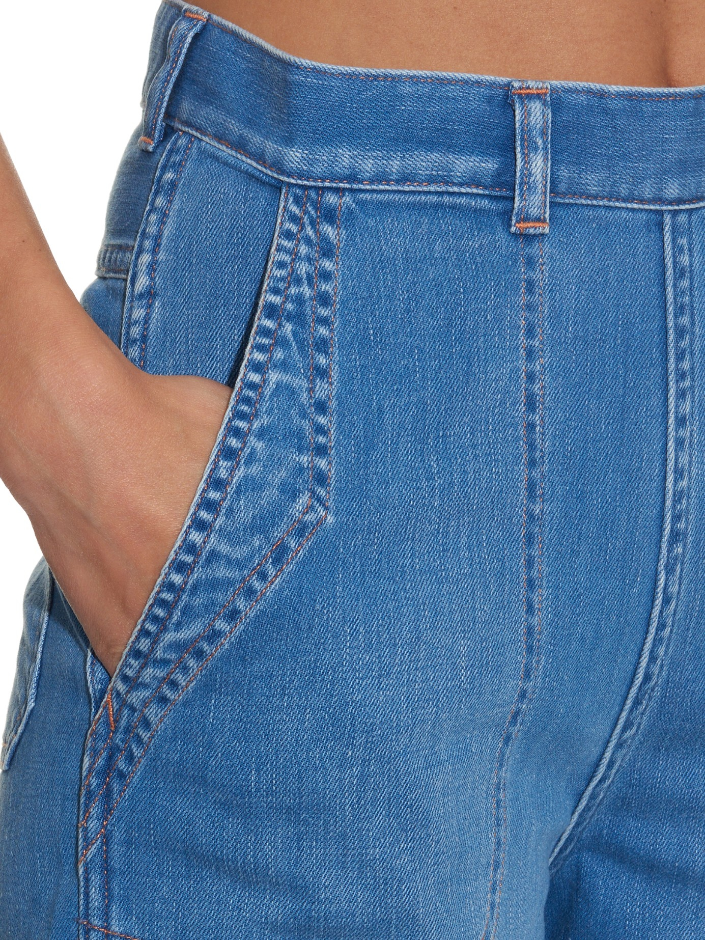 Lyst m i h jeans chambray western culottes in blue for Chambray jeans
