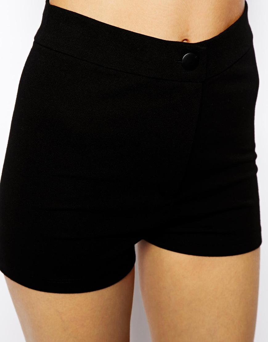 Asos High Waisted Stretch Shorts in Black | Lyst