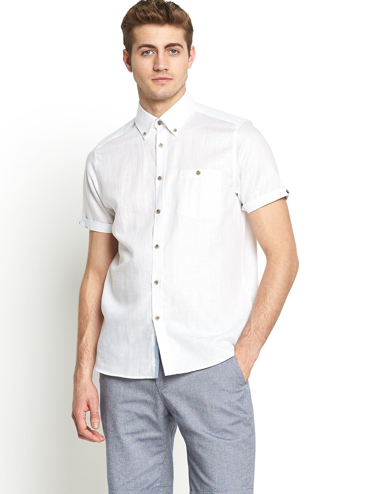 Ted baker short sleeved linen shirt in white for men lyst for Short sleeve linen shirt