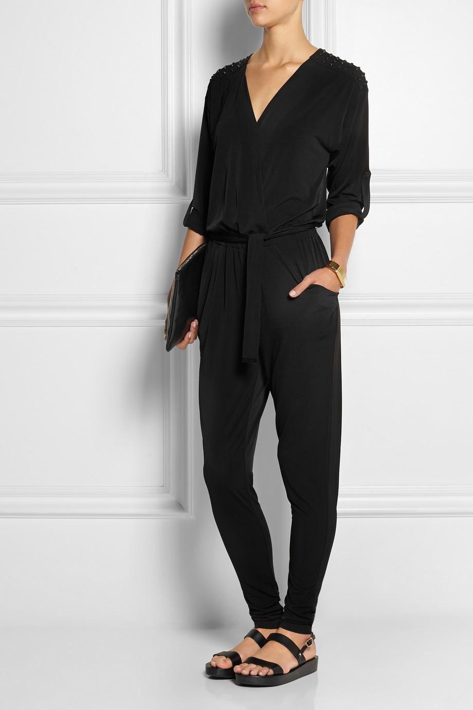 lyst michael michael kors studded stretch jersey jumpsuit in black. Black Bedroom Furniture Sets. Home Design Ideas
