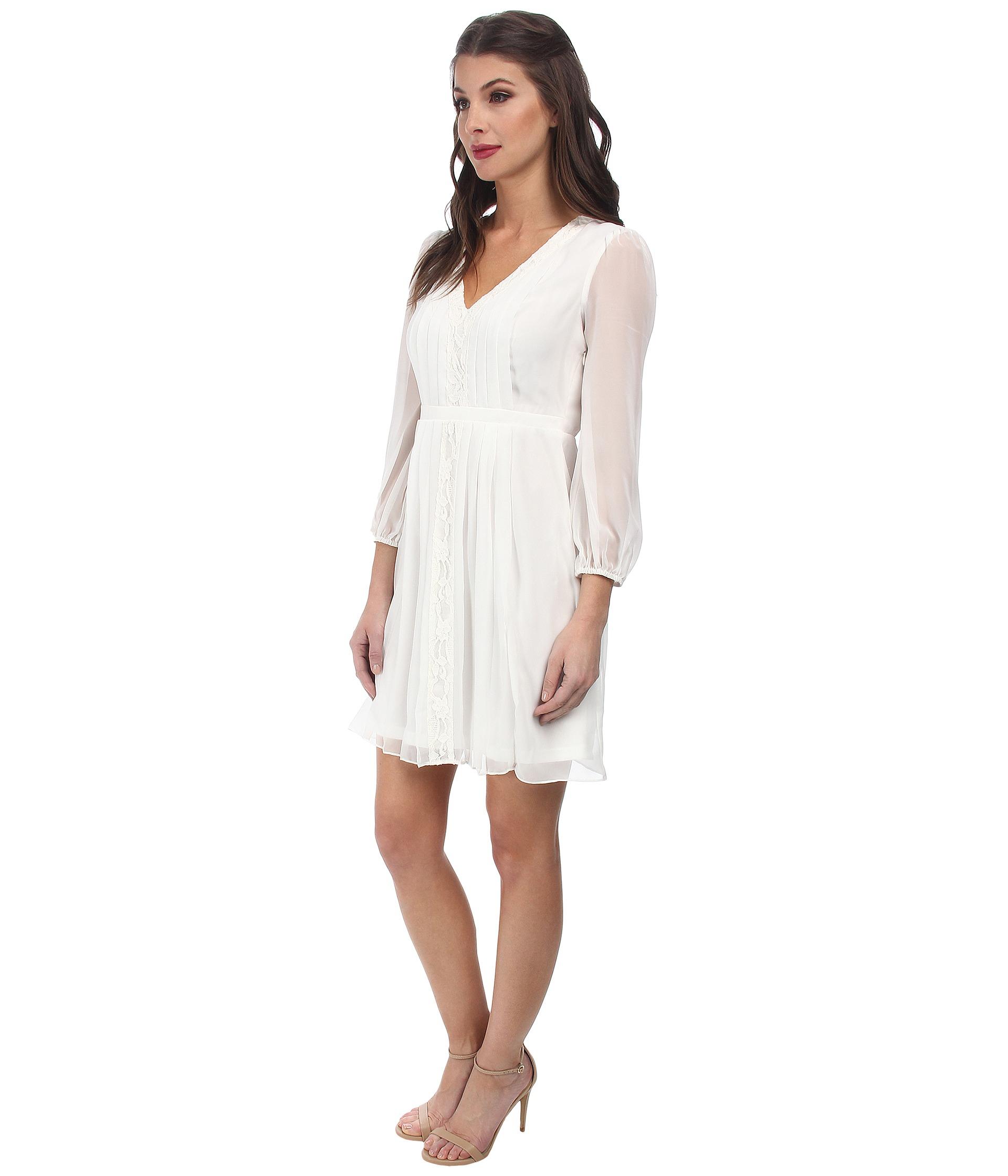 5c4fc91c9 Jessica Simpson 3/4 Sleeve Chiffon Dress Js5A7035 in White - Lyst