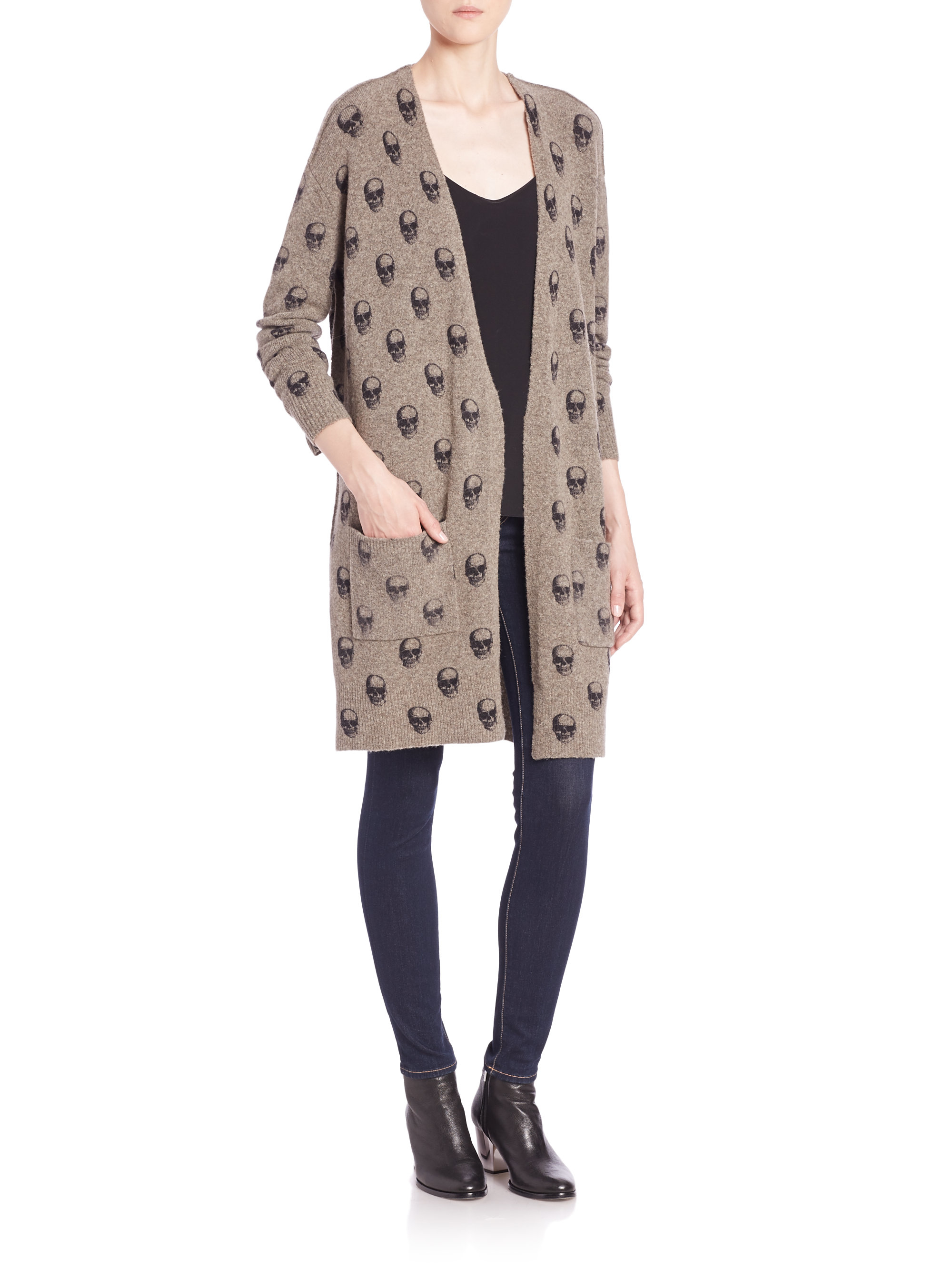 360cashmere Raven Skull-printed Long Cardigan in Black | Lyst