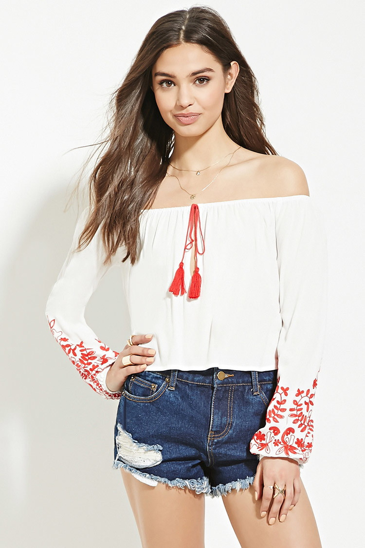 79ffc7d871f614 Lyst - Forever 21 Embroidery Off-the-shoulder Top in White