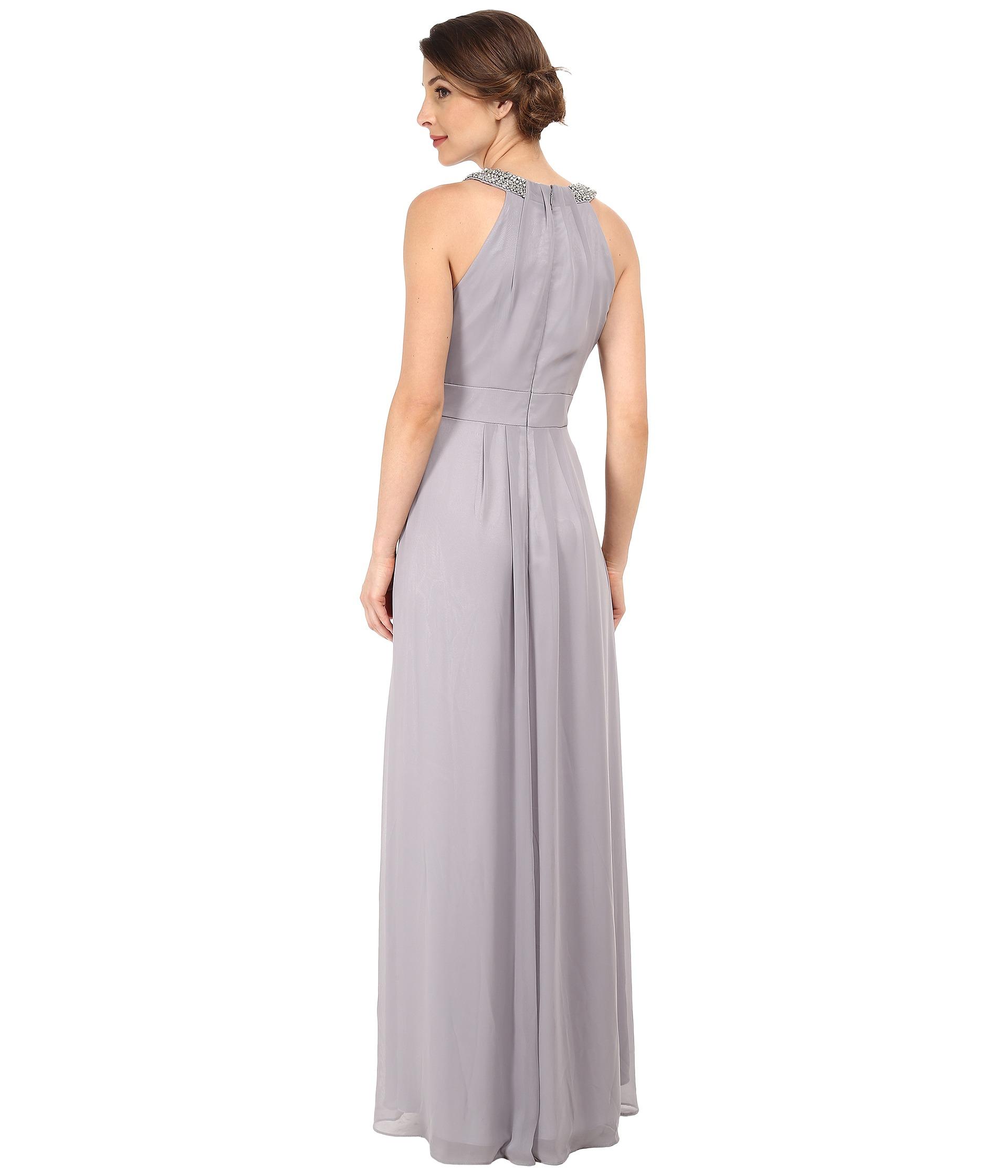 eff350858776 Eliza J Chiffon Gown With Beaded Neckband in Metallic - Lyst