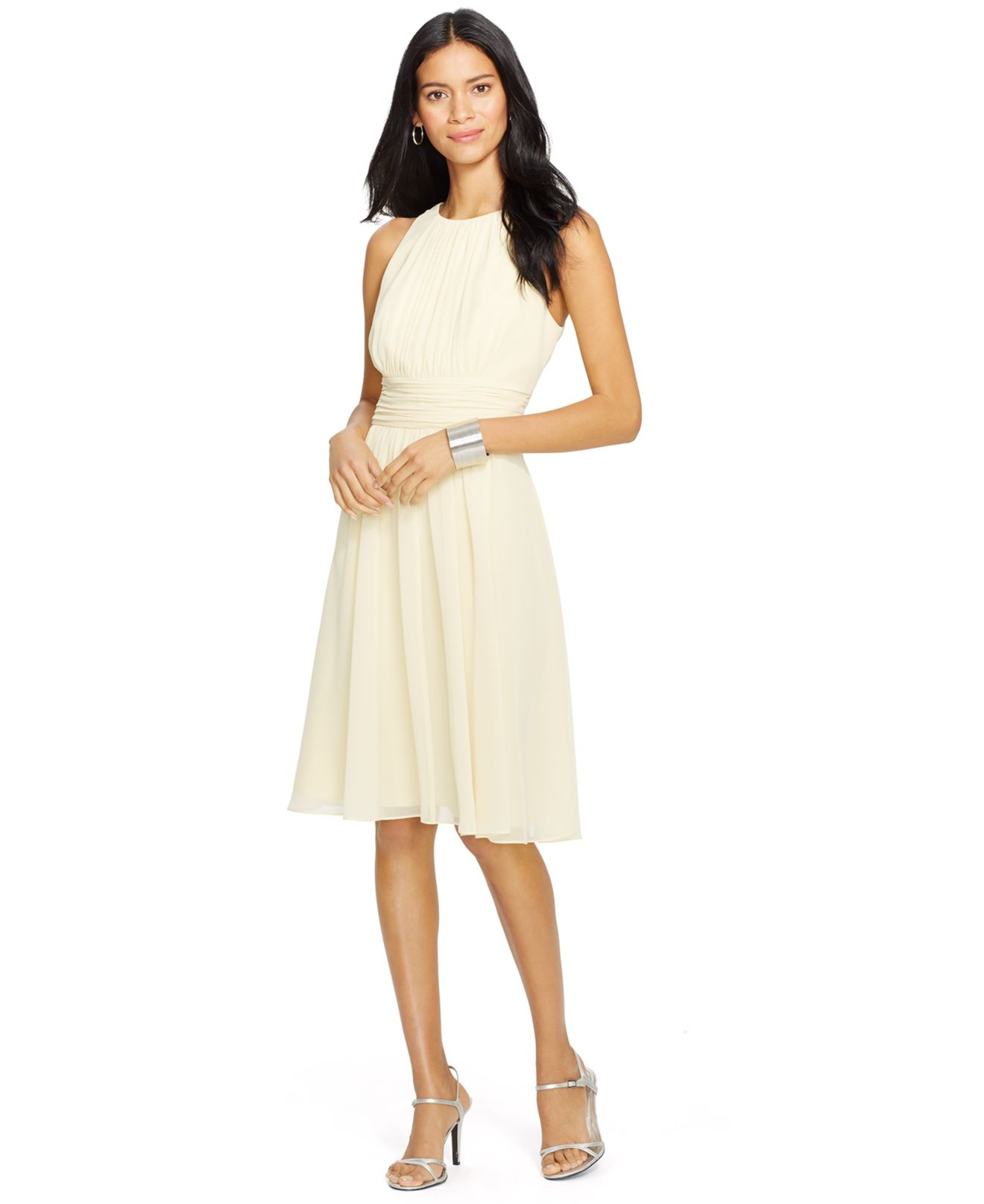 718bc331f6ede Lyst - Lauren by Ralph Lauren Ruched Sleeveless Dress in Natural