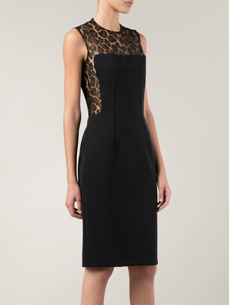 Alexander Mcqueen Lace Panel Cocktail Dress In Black Lyst