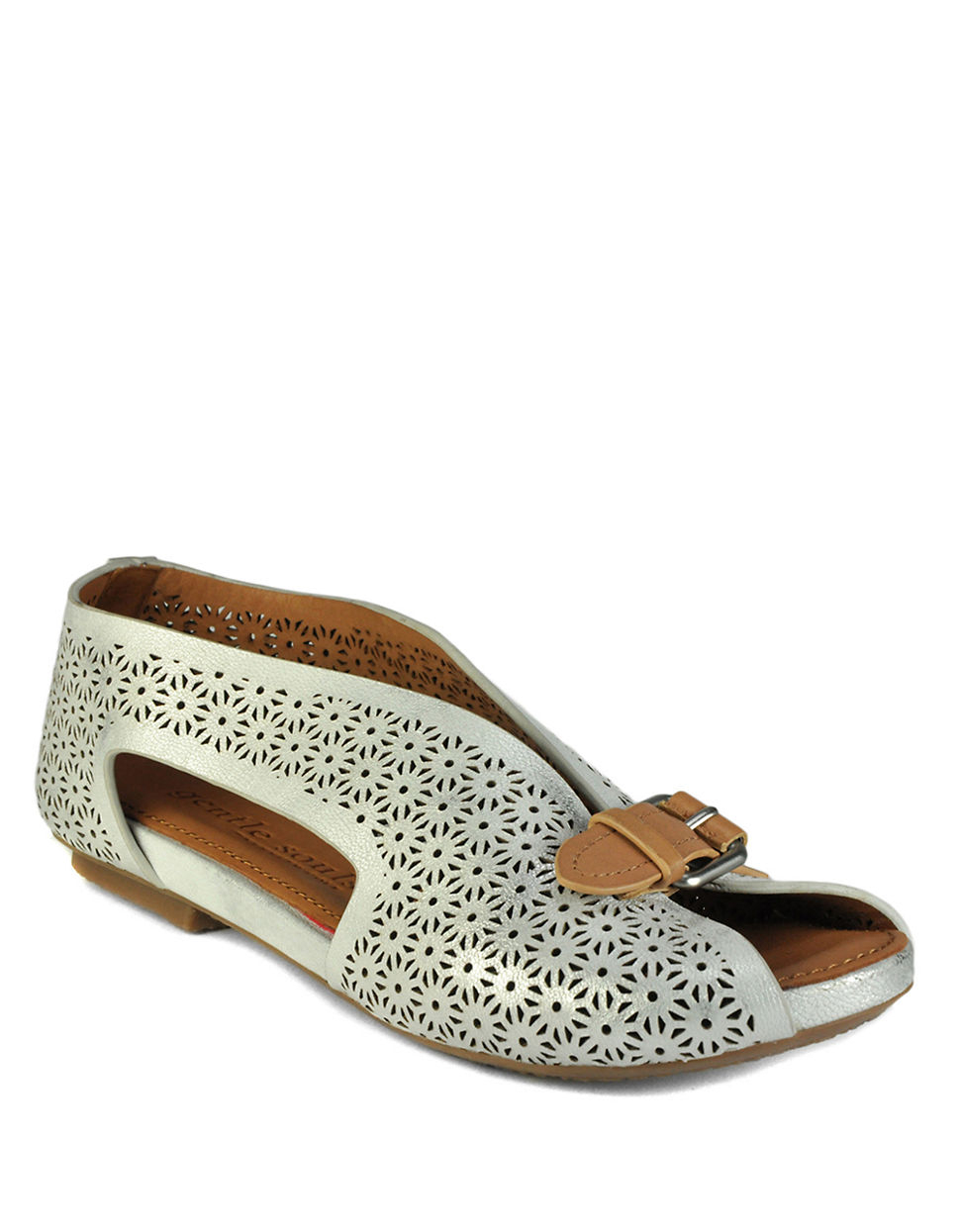 Lyst Gentle Souls Bless Word Leather Peep Toe Flats In Gray