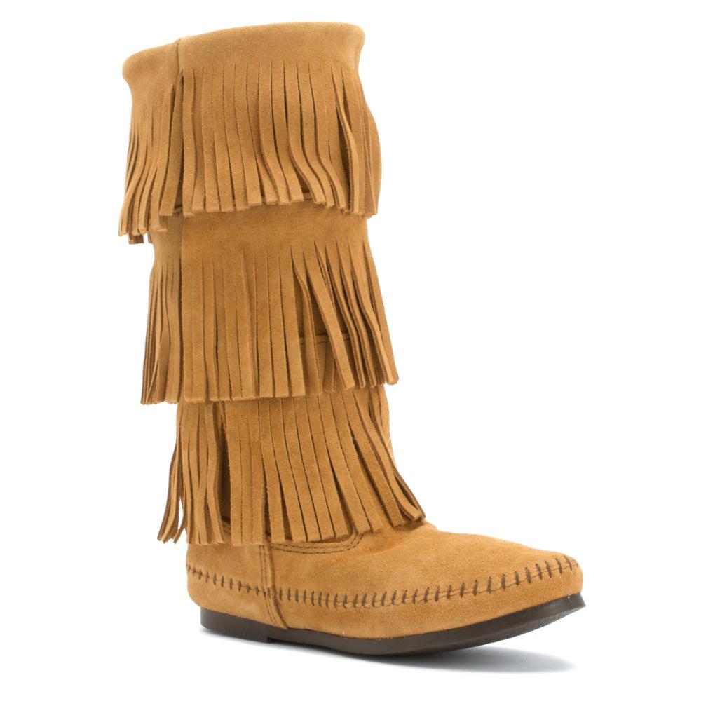minnetonka 3 layer fringe boot in brown lyst