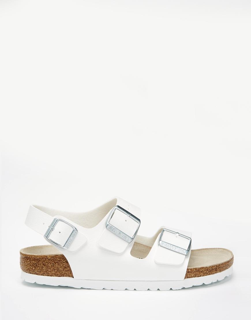 041754acdfd Lyst - Birkenstock Milano Birko Flor White Slider Flat Sandals in White