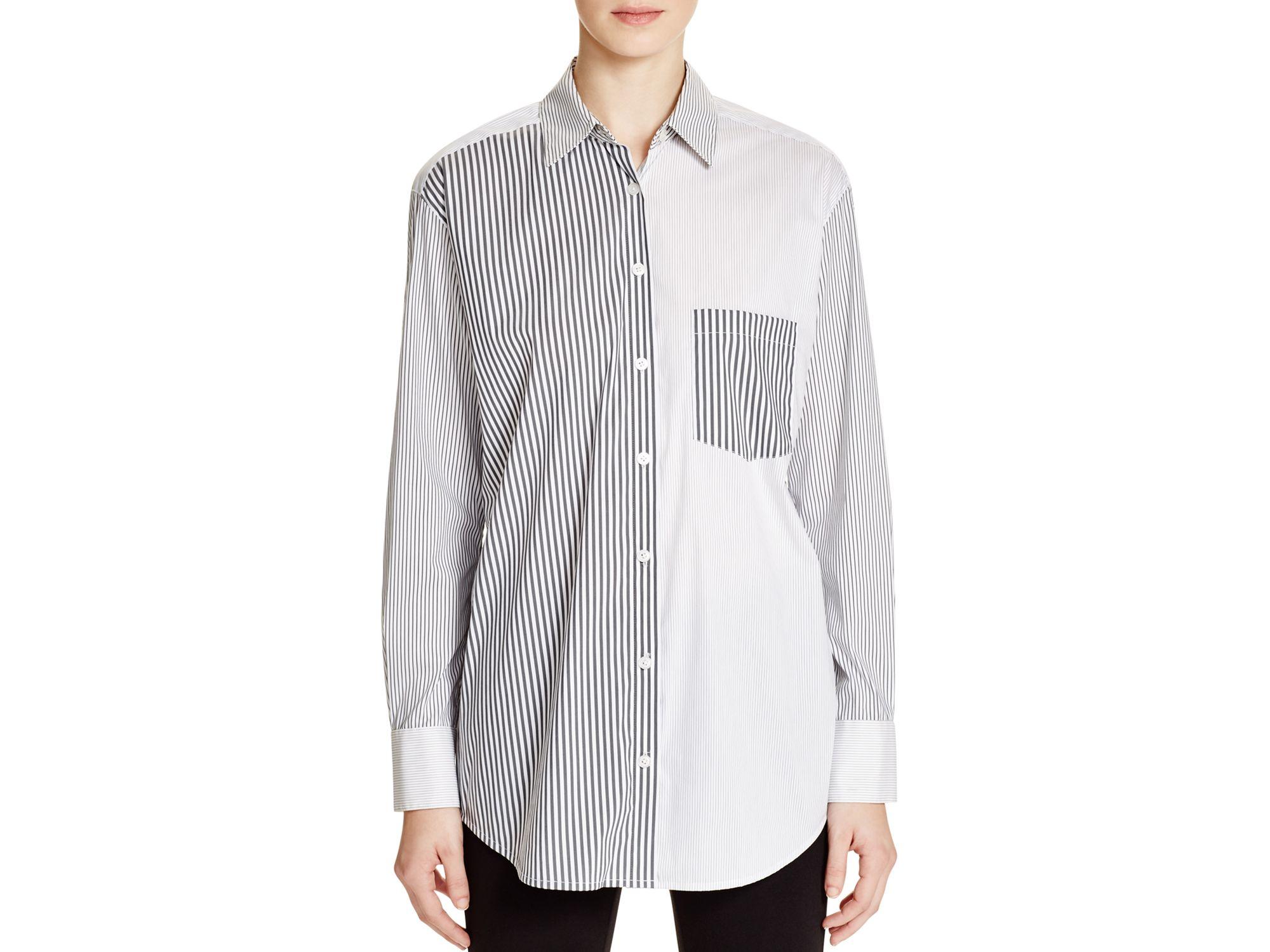 Dkny Pattern Block Stripe Button Down Shirt in Black   Lyst