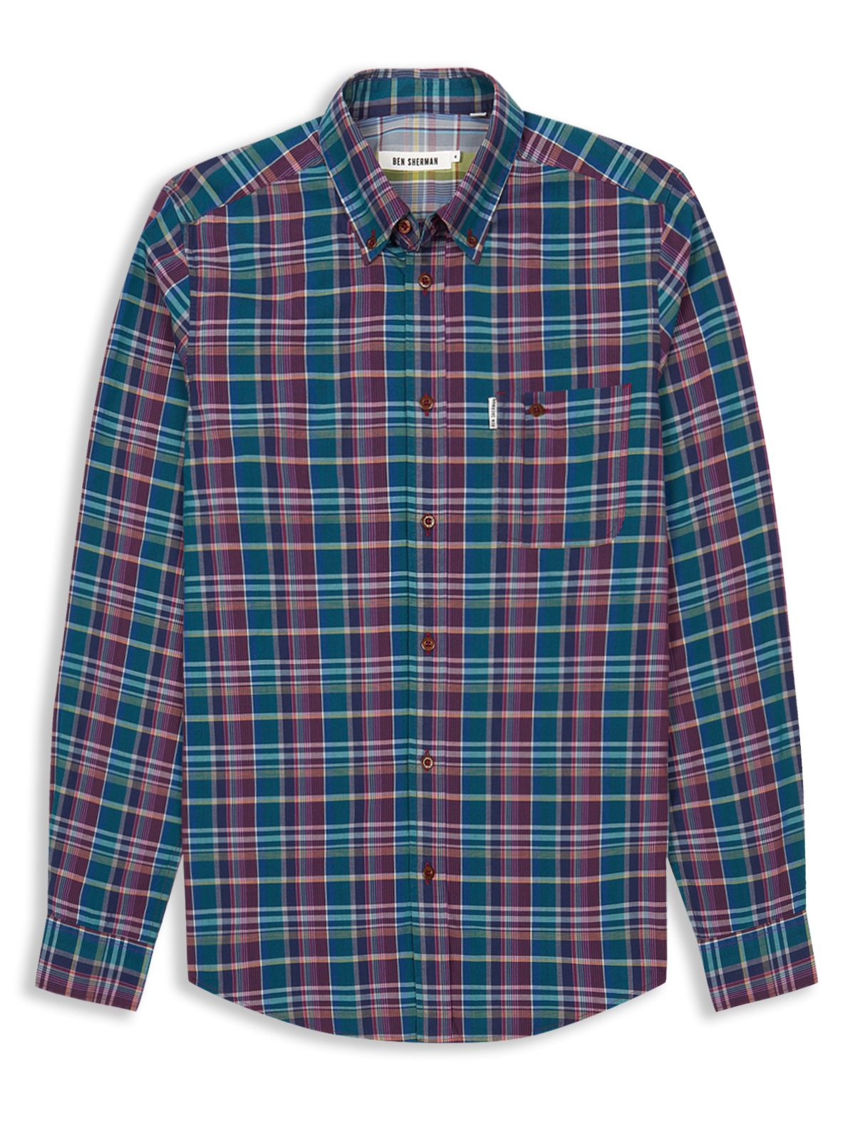 Ben sherman madras check sport shirt in multicolor for men for Mens madras shirt sale
