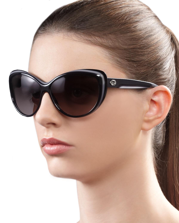 a89f14e331 Lyst - Gucci Round Cat Eye Sunglasses in Gray