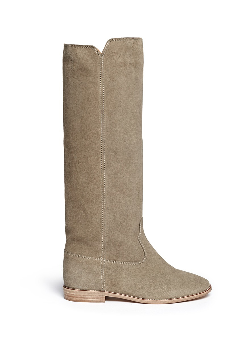 toile isabel marant cleave suede knee high boots in gray lyst. Black Bedroom Furniture Sets. Home Design Ideas
