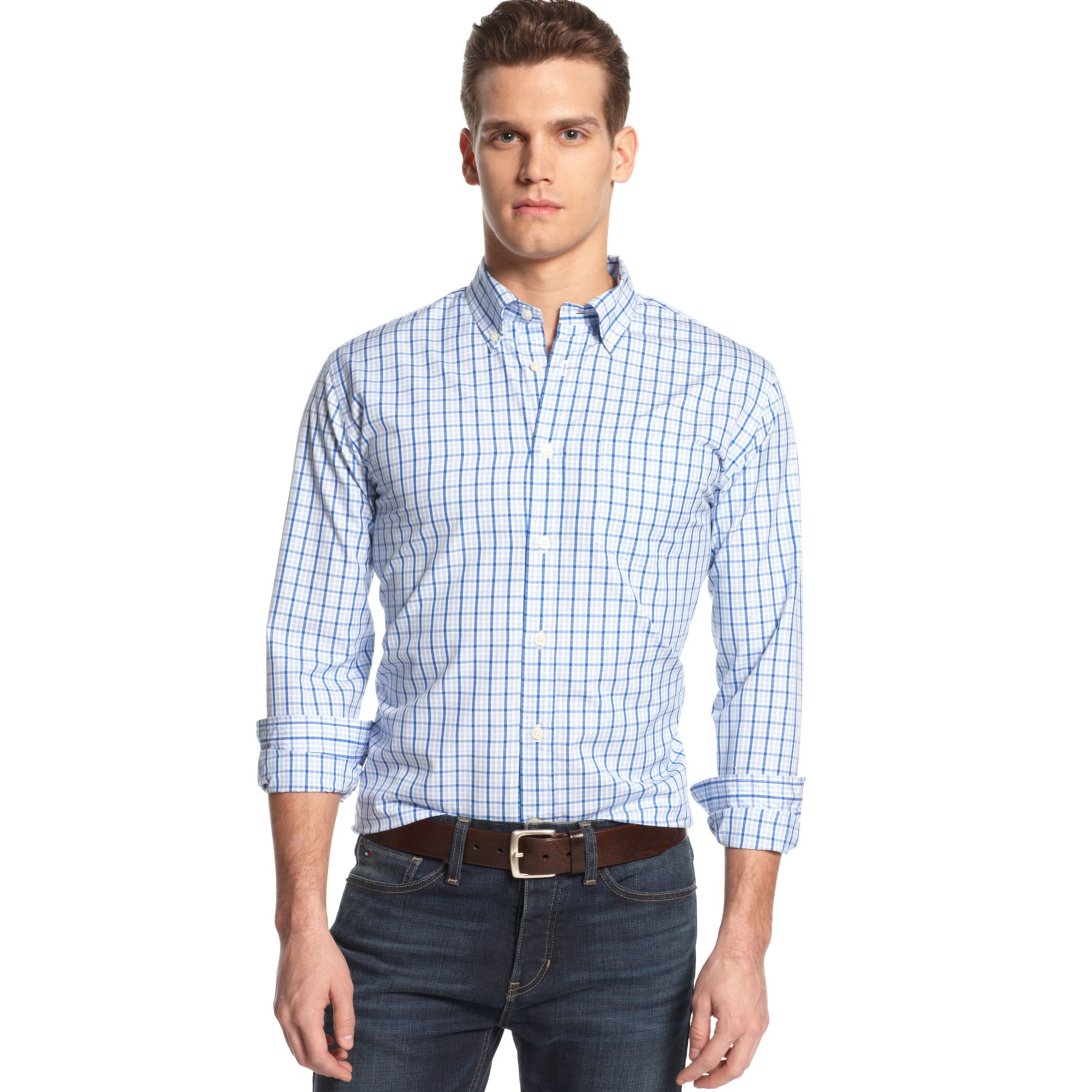 tommy hilfiger big and tall drake windowpane shirt in blue