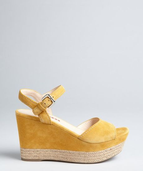 Prada Sport Mustard Suede And Jute Wedge Sandals In Yellow