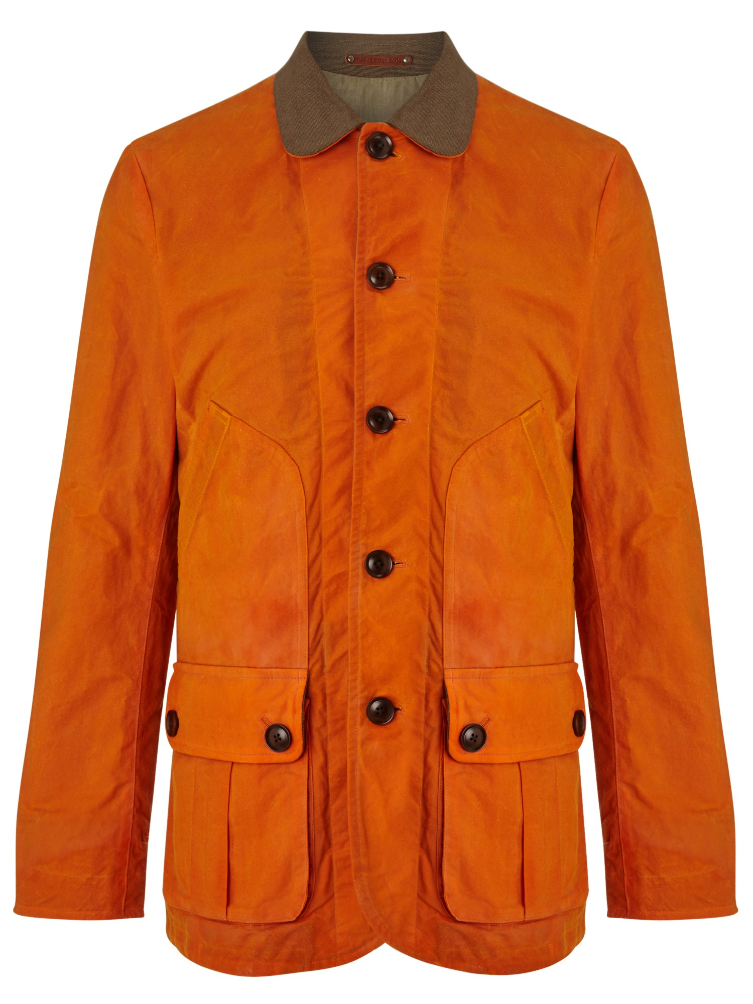 John Lewis Halley Stevensons Waxed Cotton Donkey Jacket In Orange
