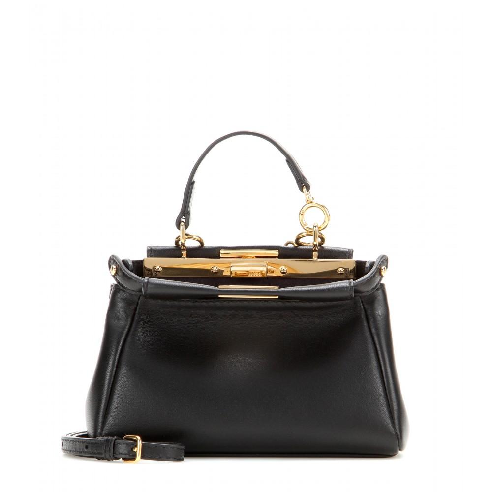 c8e62737e824 Lyst - Fendi Micro Peekaboo Leather Shoulder Bag in Black