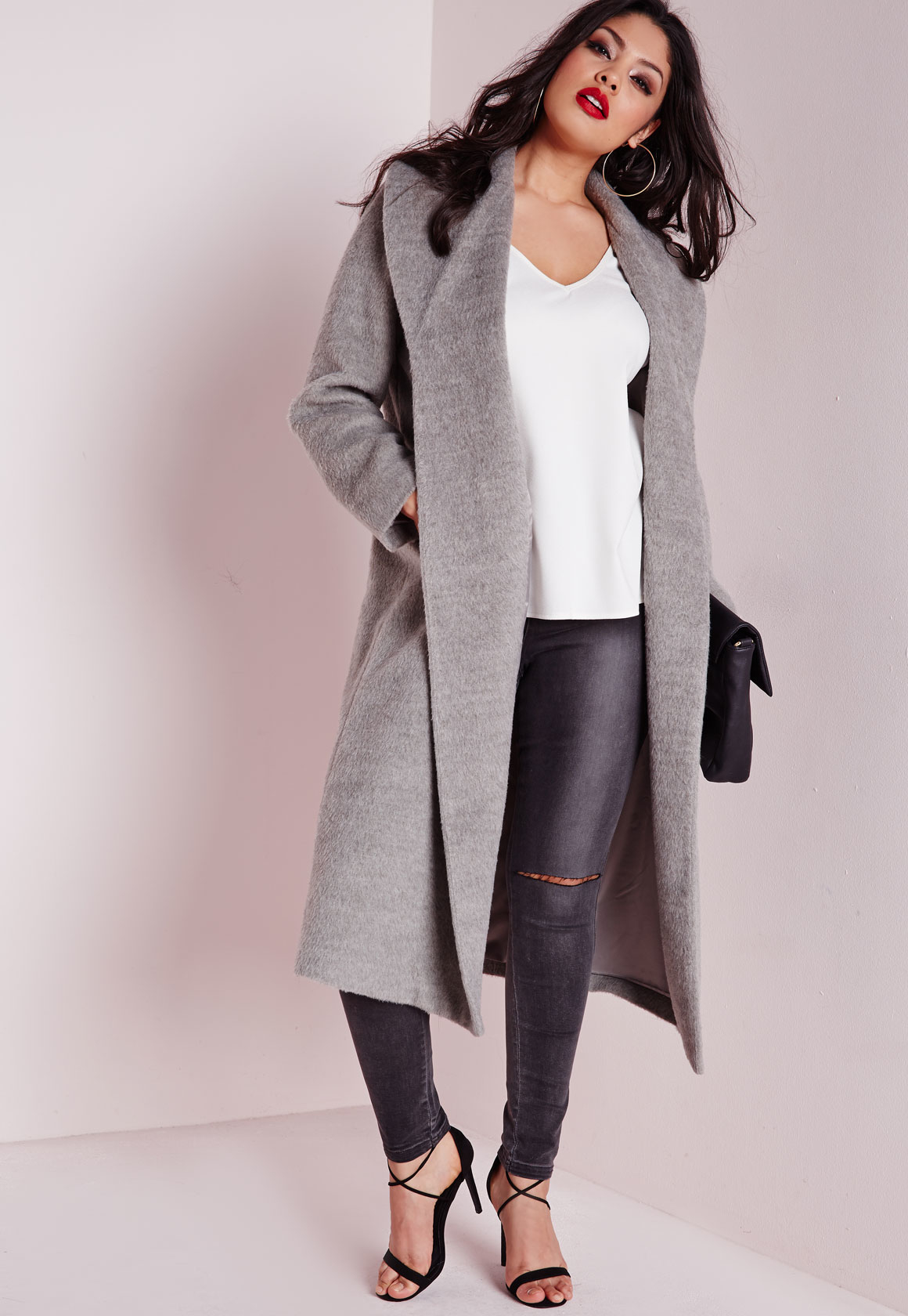 Missguided Plus Size Belted Wool Coat Grey in Gray | Lyst